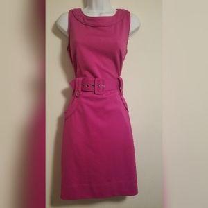 New York & Company Pink Belted Sleeveless Dress